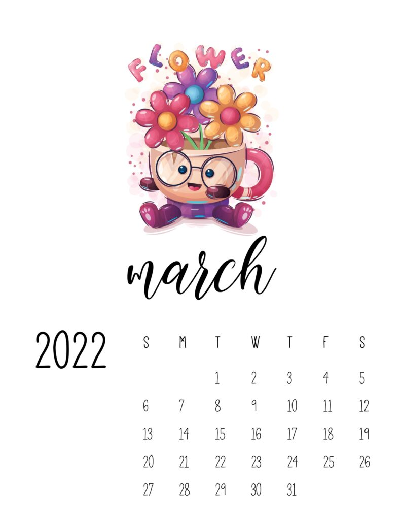 printable childrens calendar 2022 - march