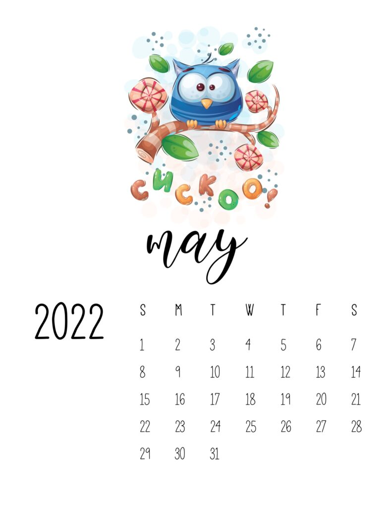 printable childrens calendar 2022 - may