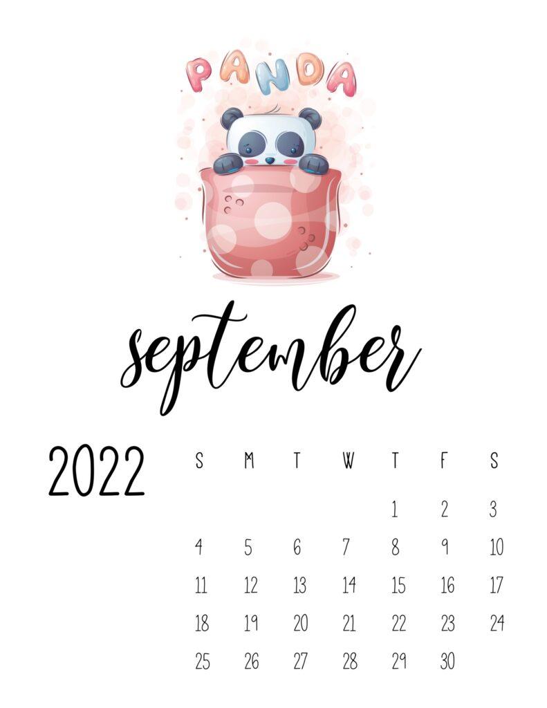 printable childrens calendar 2022 - september