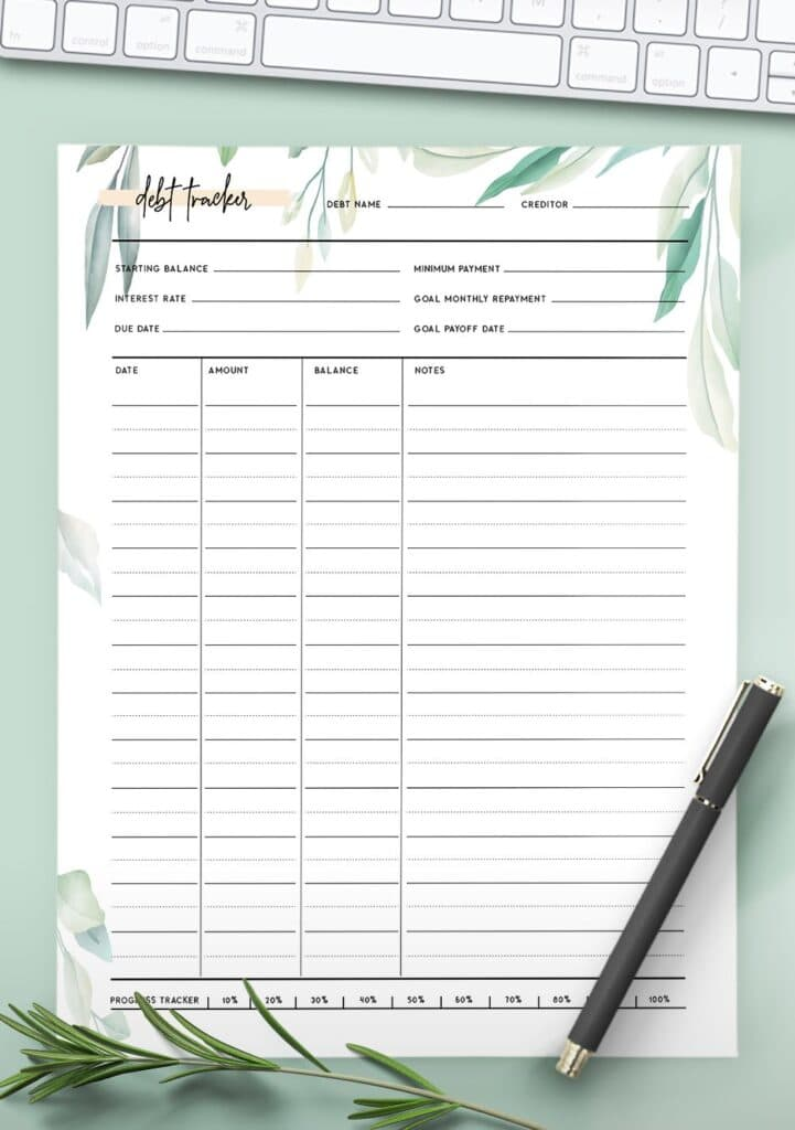 printable debt tracker template