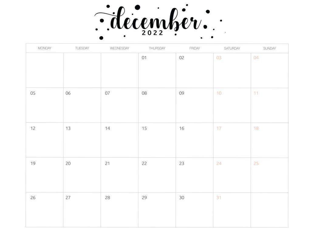 Printable December 2022 calendar template