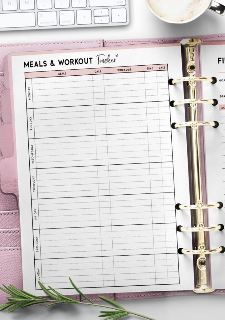 printable meals and workouts tracker