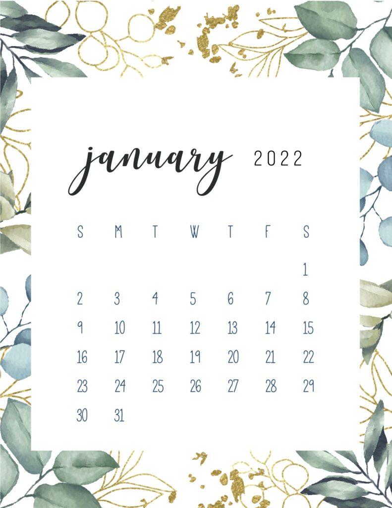 printable monthly calendar 2022 - january