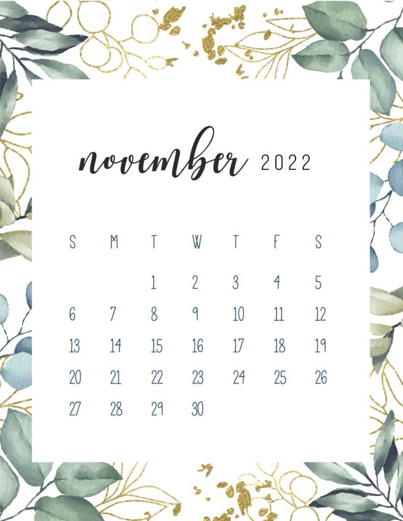 printable monthly calendar 2022 - November