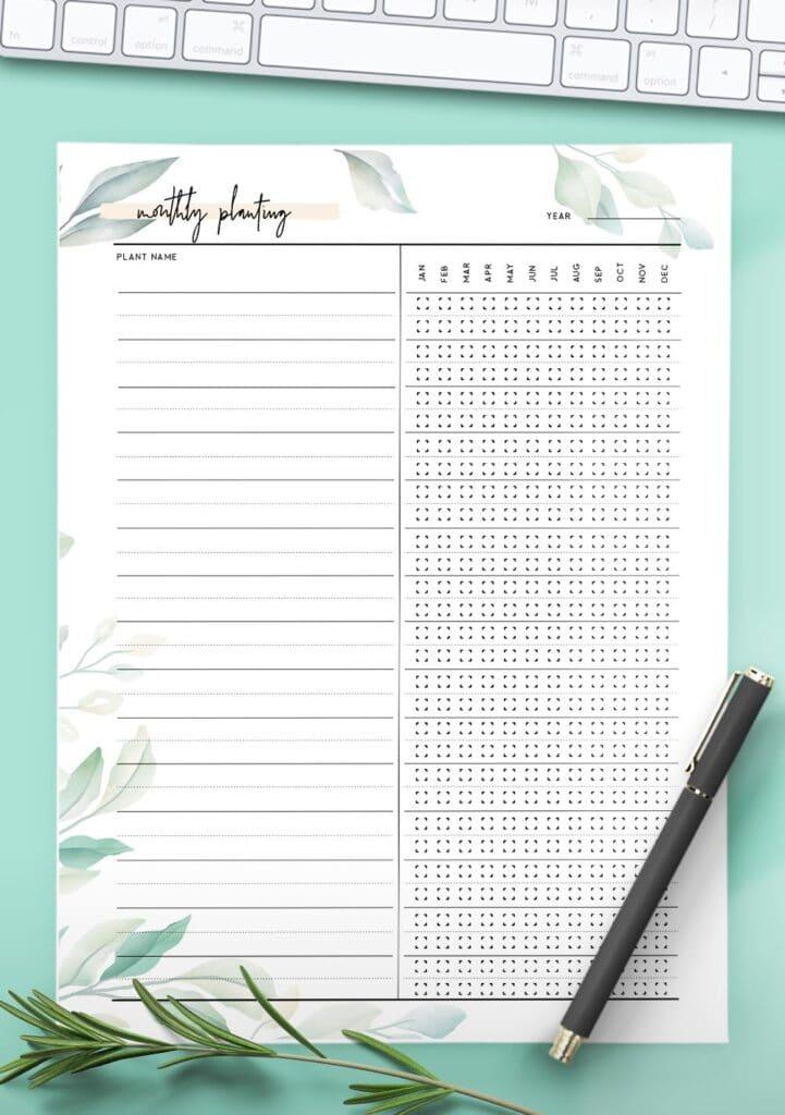 free printable garden journal template