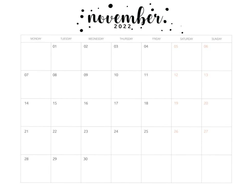 Printable November 2022 calendar template