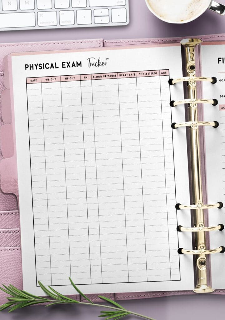 physical exam tracker template