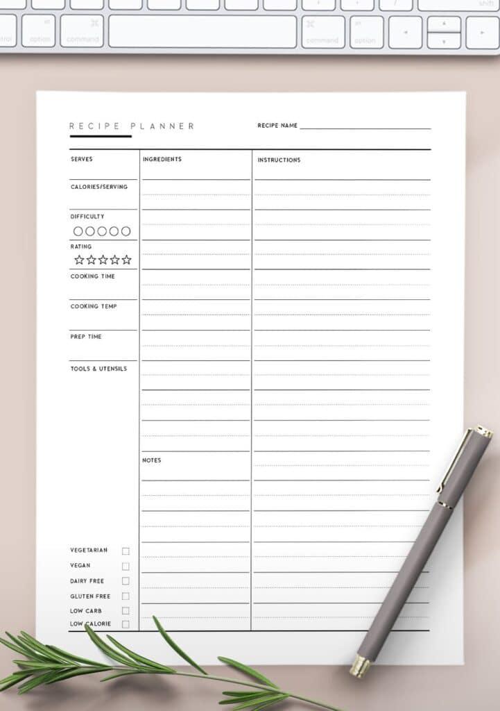 printable recipe pages pdf
