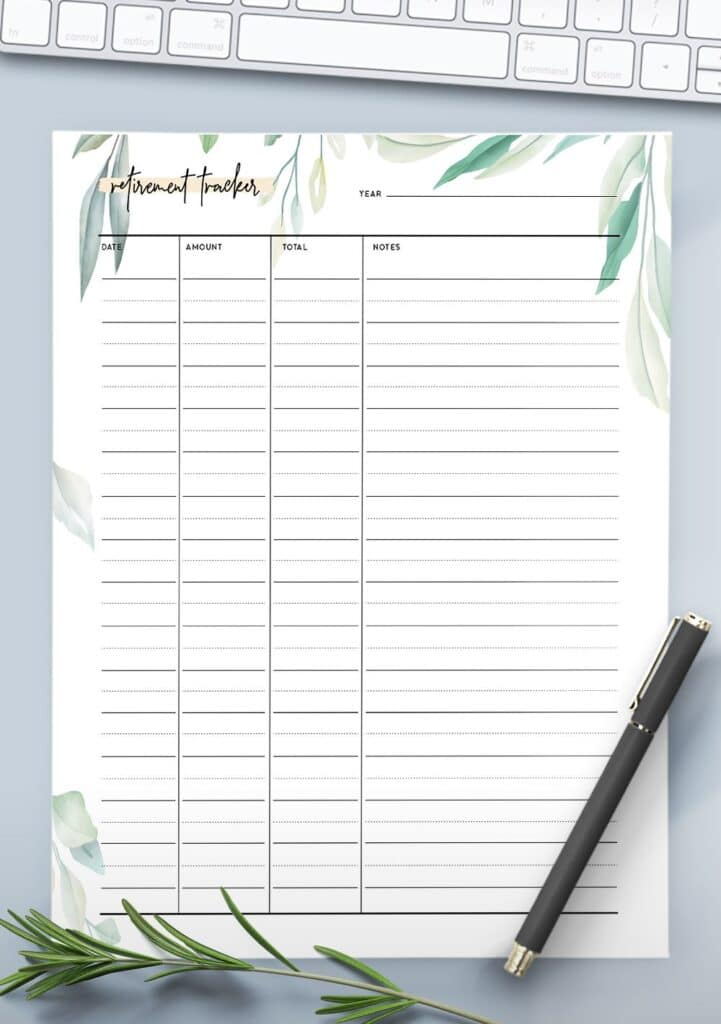 printable-retirement tracker botanical-template