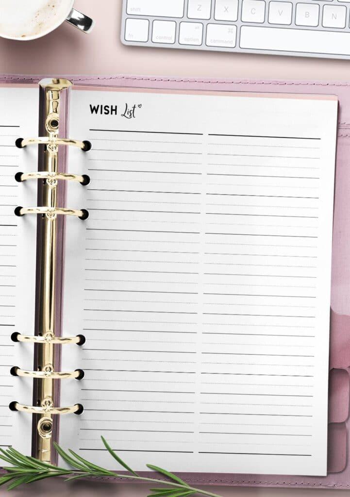 printable wish list template