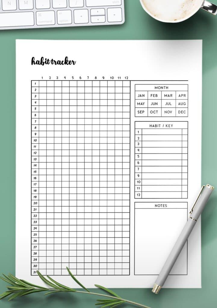 simple habit tracker template