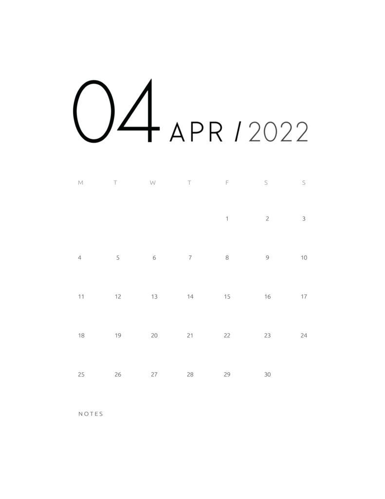 wall calendar 2022 - april