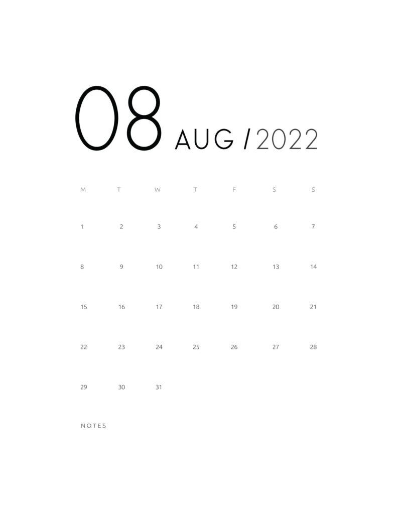 wall calendar 2022 - august