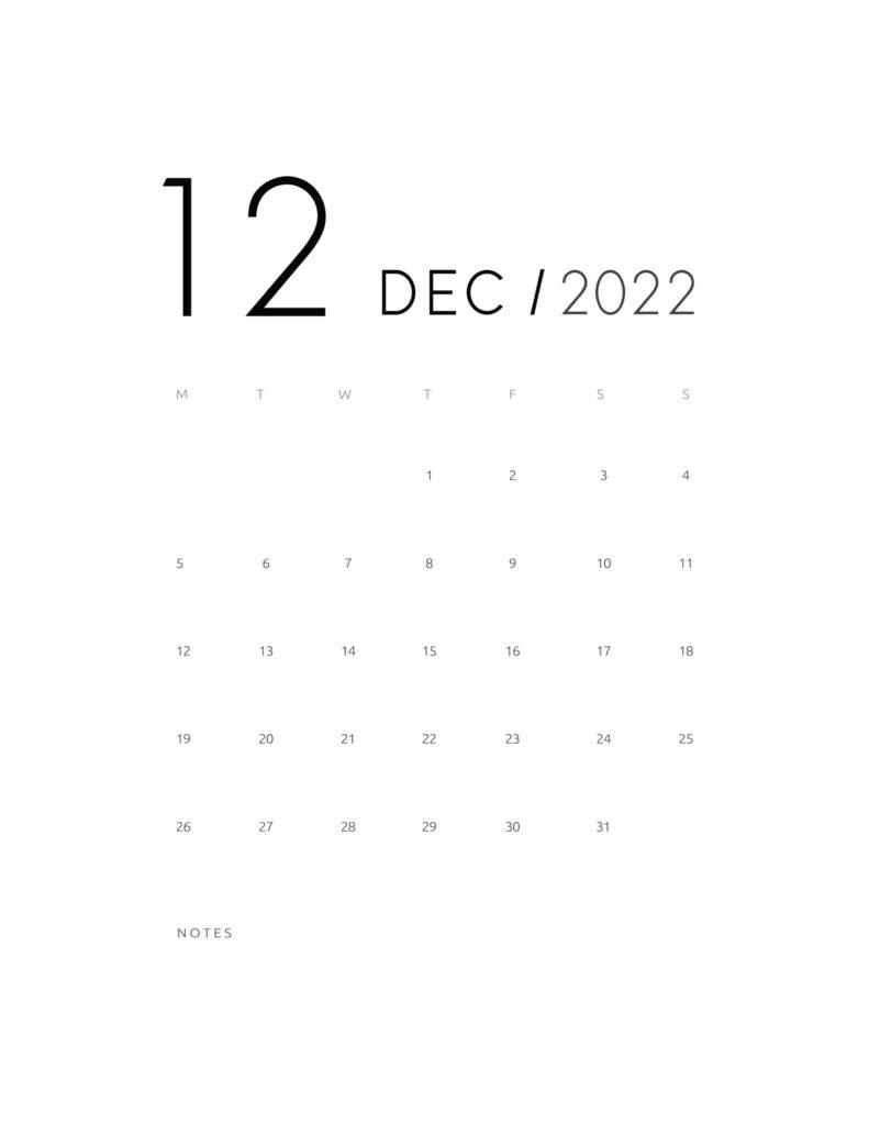 wall calendar 2022 - december