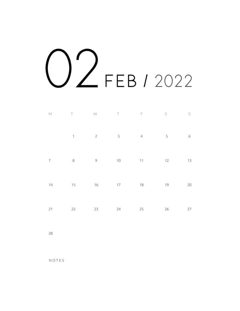 wall calendar 2022 - february