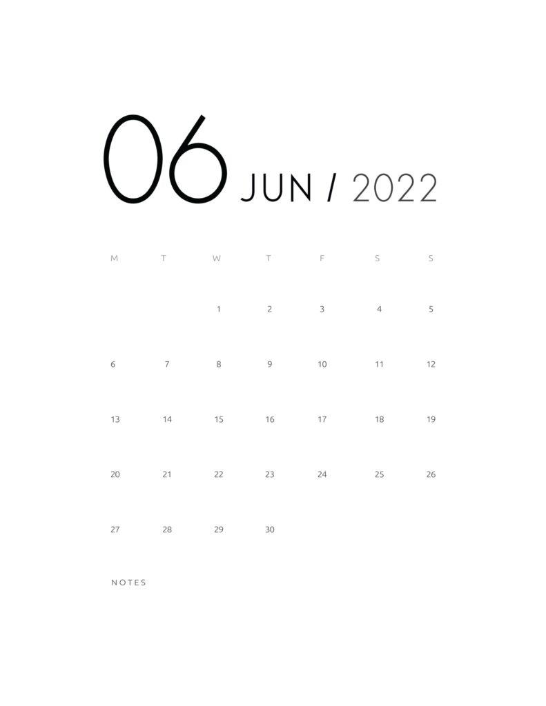 wall calendar 2022 - june