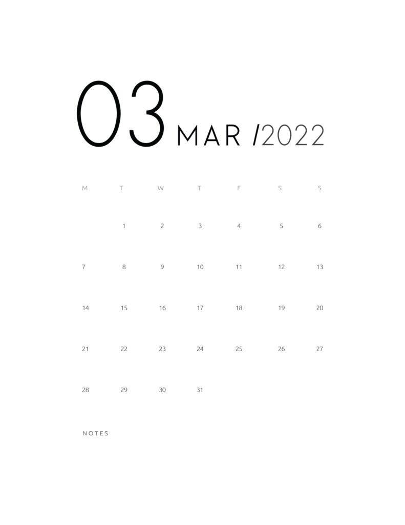 wall calendar 2022 - march