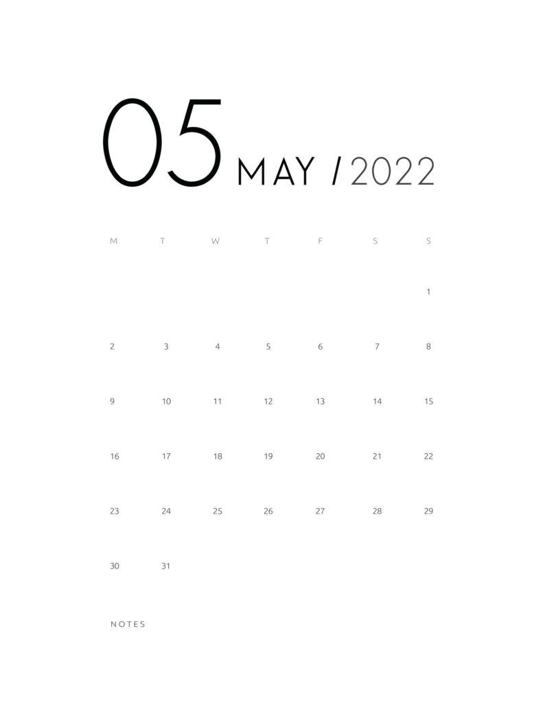 wall calendar 2022 - may