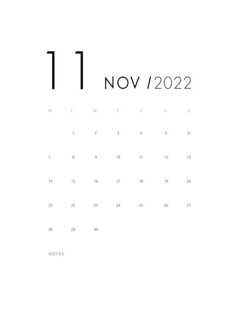 wall calendar 2022 - november