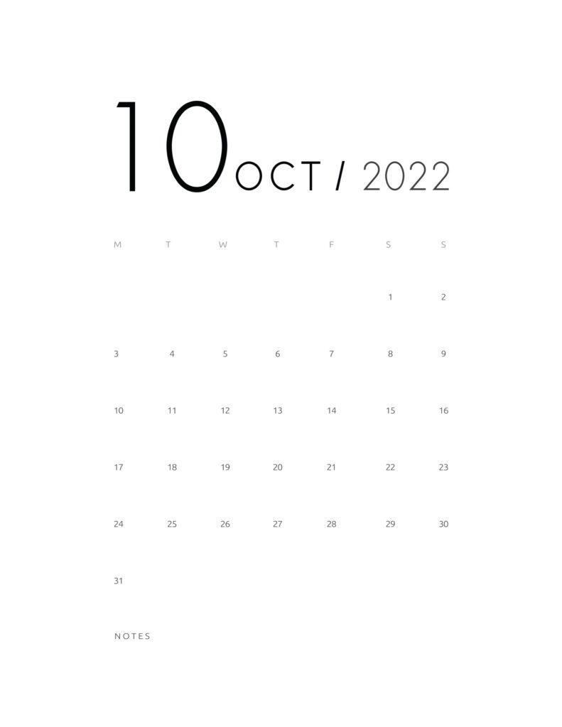 wall calendar 2022 - october