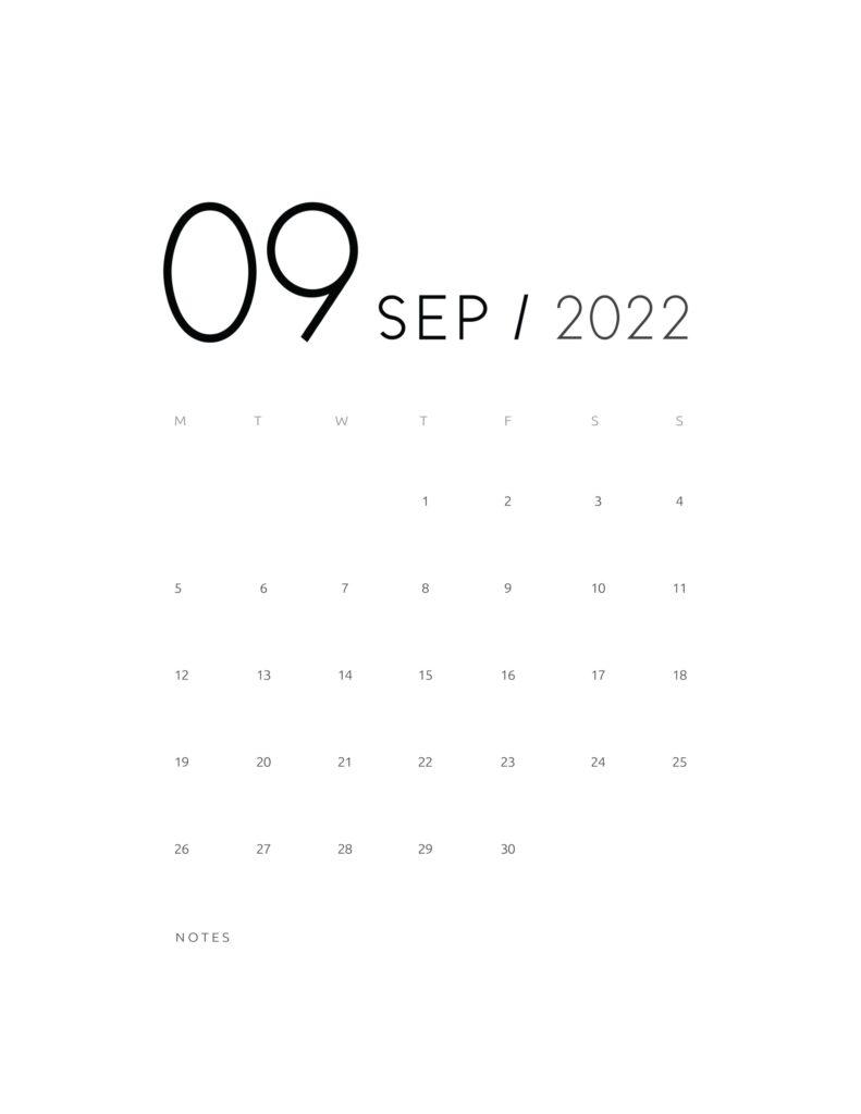 wall calendar 2022 - september