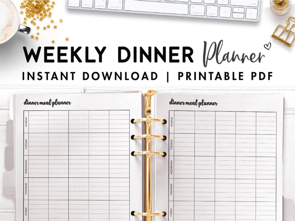 weekly dinner planner template