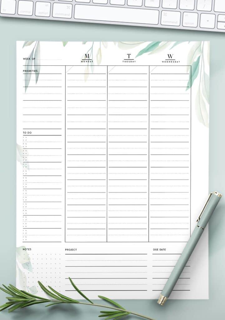 printable weekly work plan