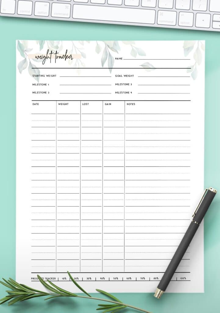 weight loss tracker template free
