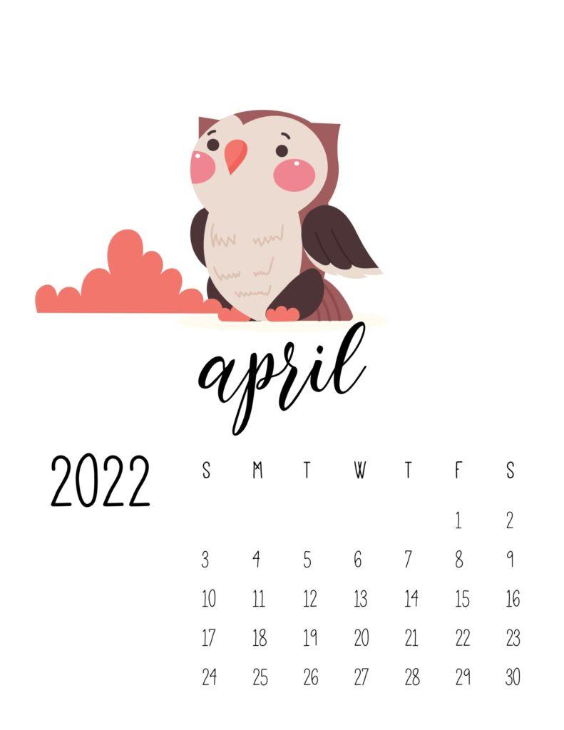 wildlife calendar 2022 - april