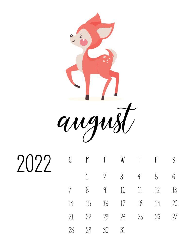 wildlife calendar 2022 - august