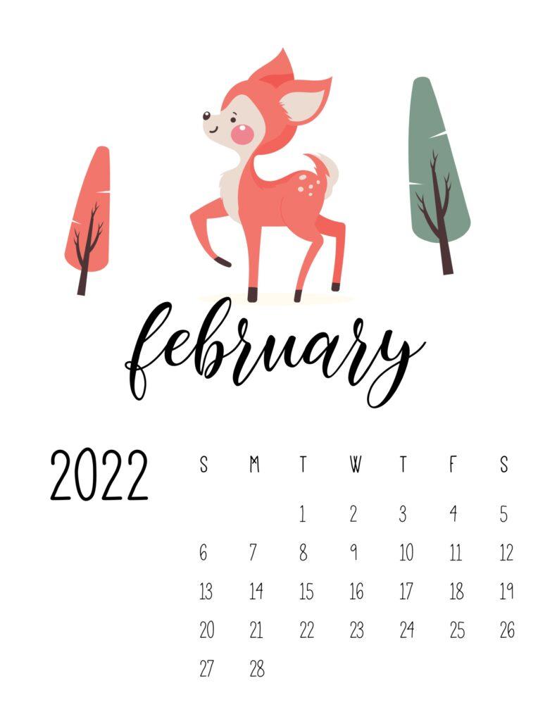 wildlife calendar 2022 - february