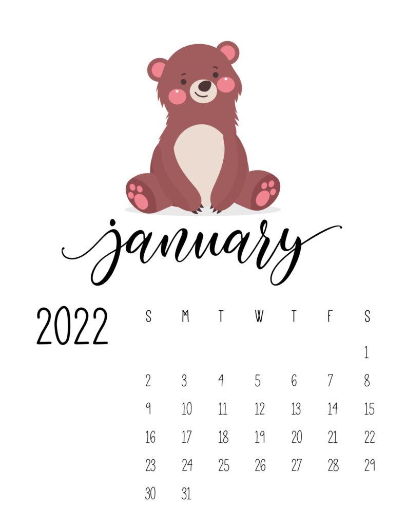 wildlife calendar 2022 - january