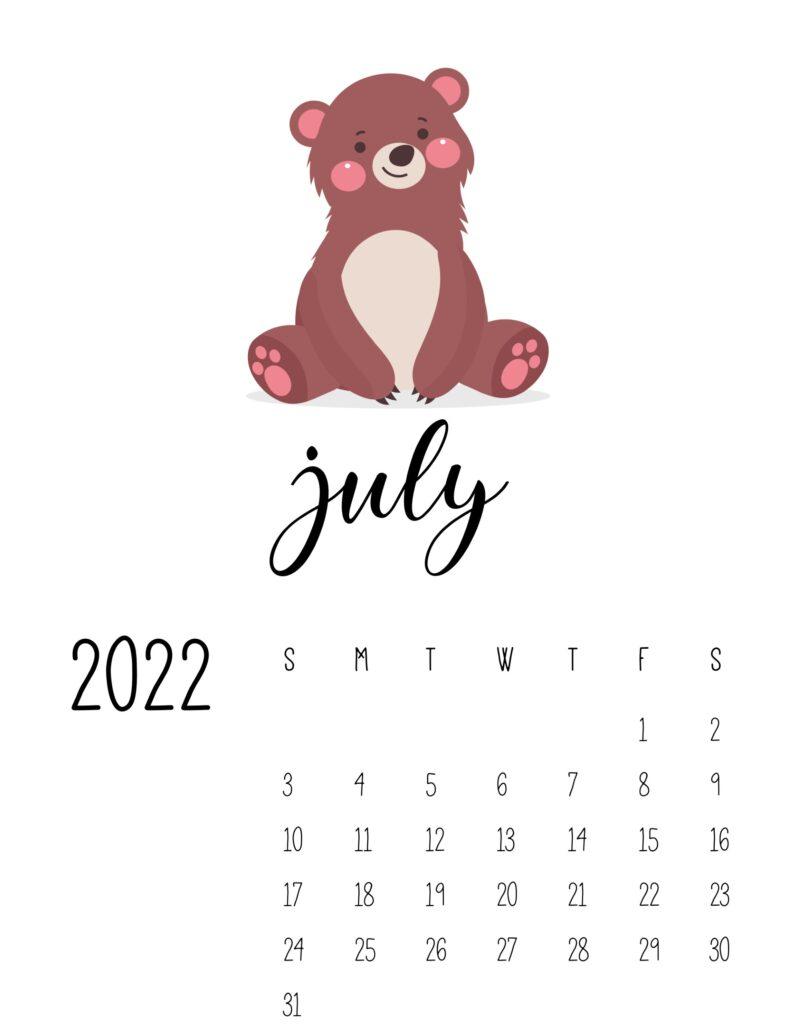 wildlife calendar 2022 - july