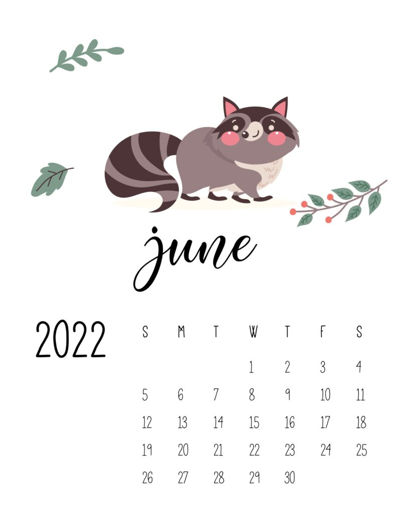 wildlife calendar 2022 - june