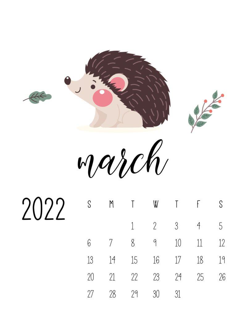 wildlife calendar 2022 - march