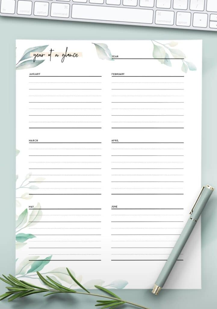 year at a glance printable template