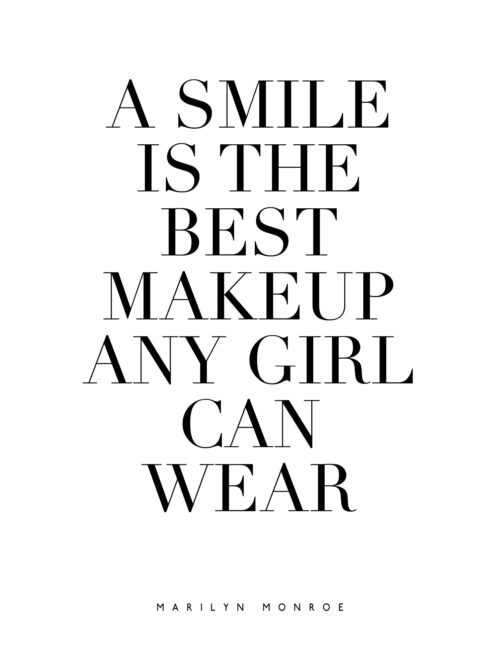 A Smile Is The Best Makeup Any Girl Can Wear - Free Printable Marilyn Monroe Quote Wall Art
