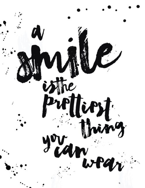 A Smile Is The Prettiest Thing You Can Wear - Free Printable Beauty Quote Wall Art Print