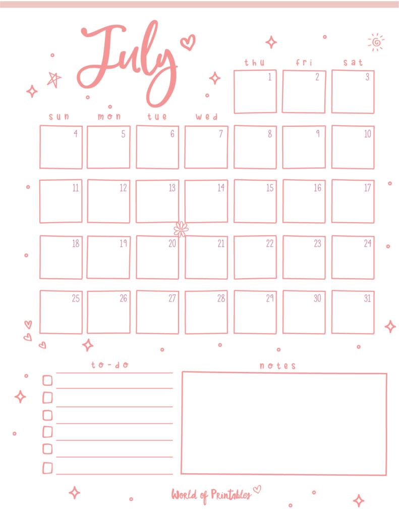 Cute July 2021 Calendar Printable