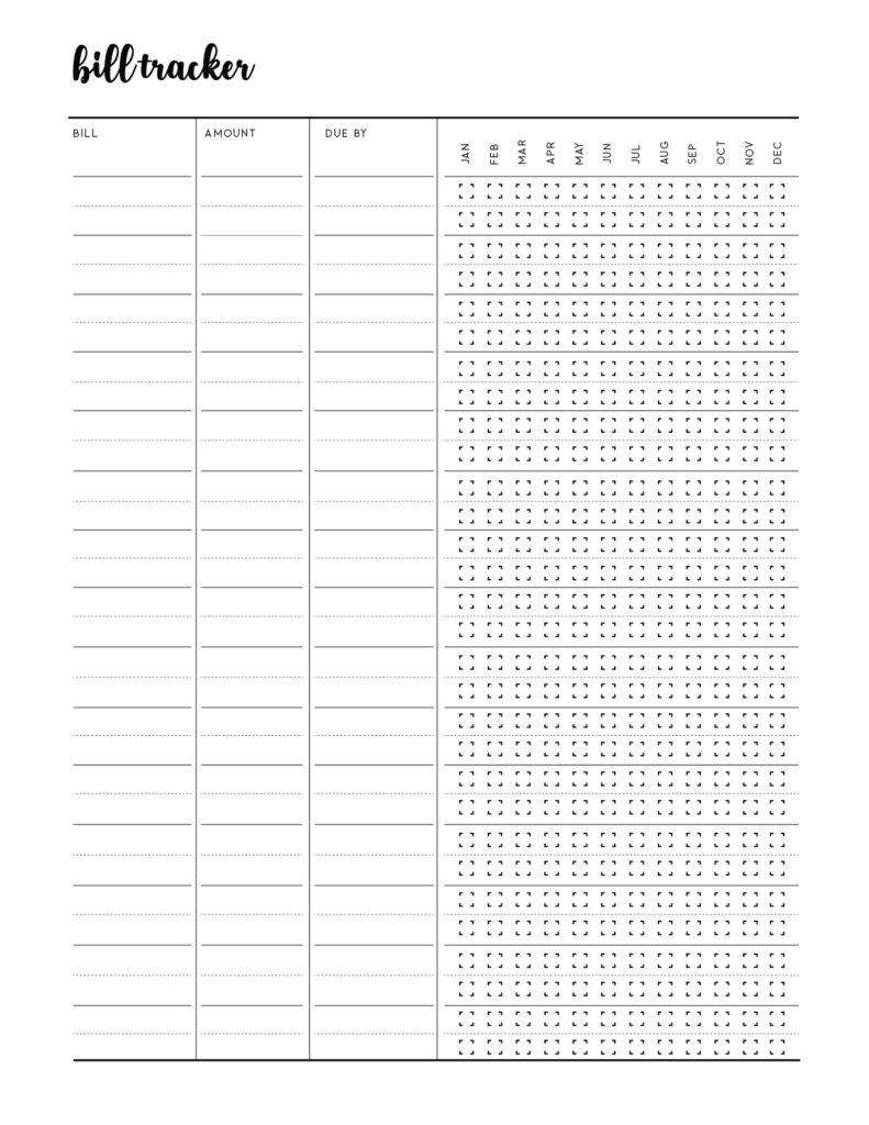 Free Bill Tracker Printable Template