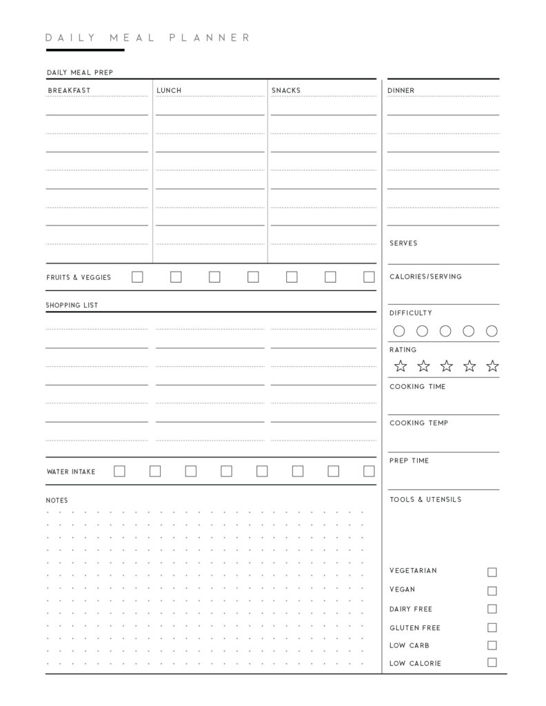 Free Meal Planner Template Printable