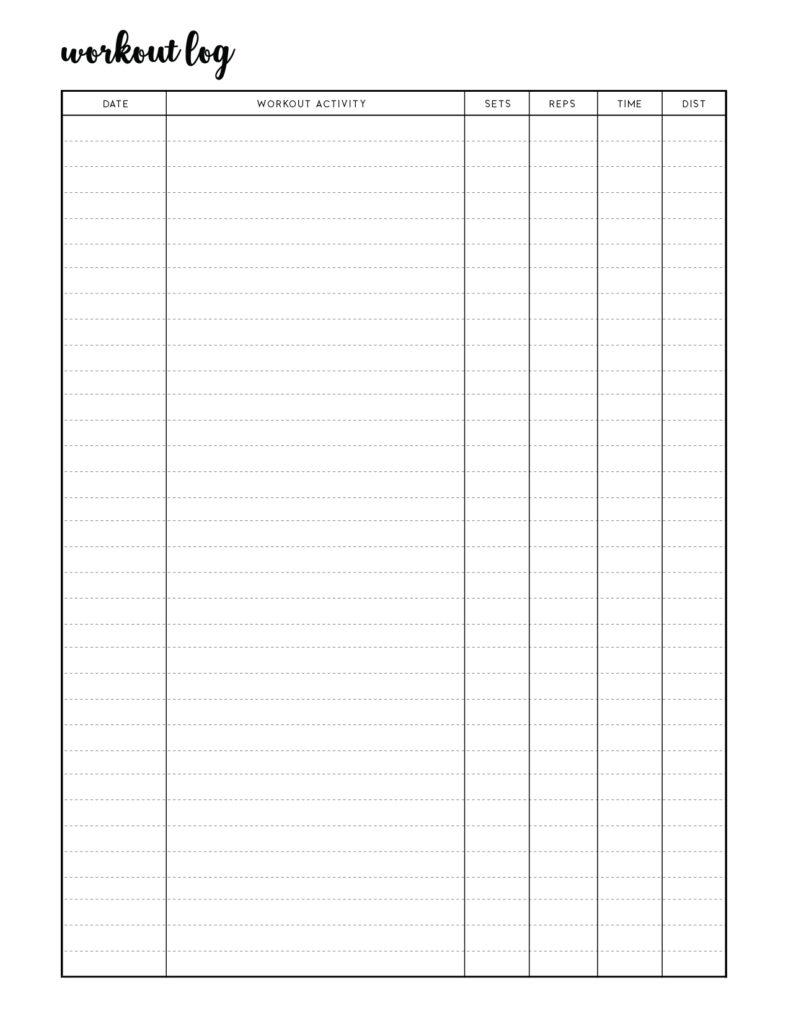 Free Printable Workout Log Sheets template