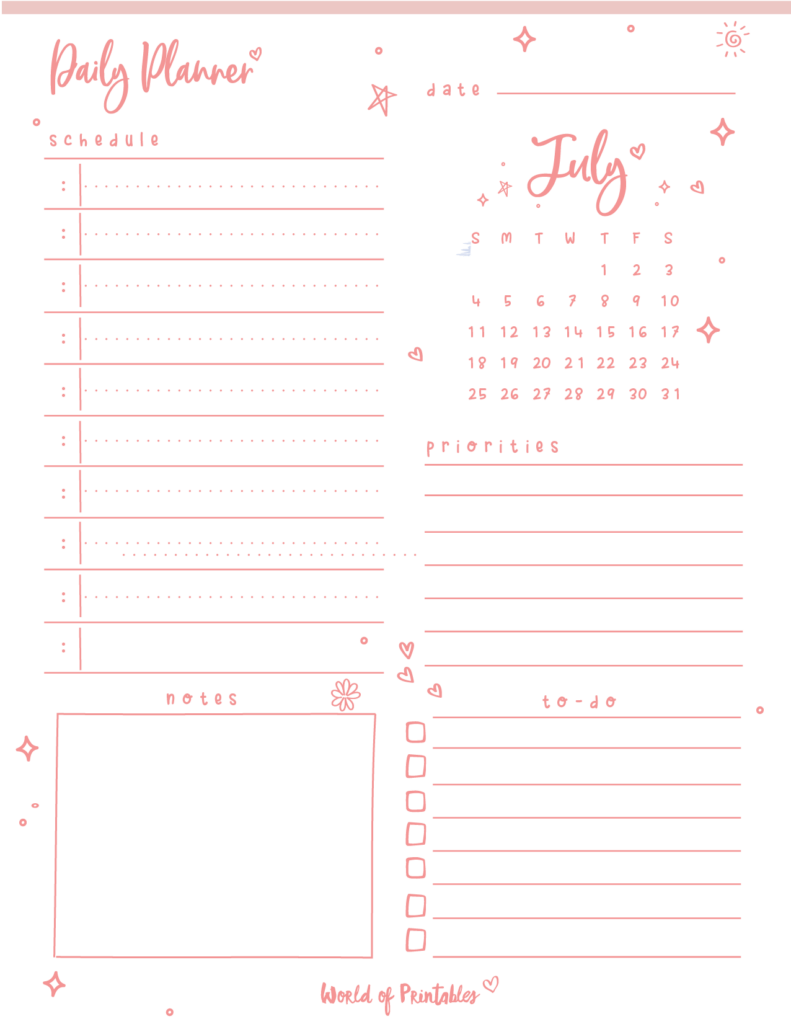 cute July daily planner