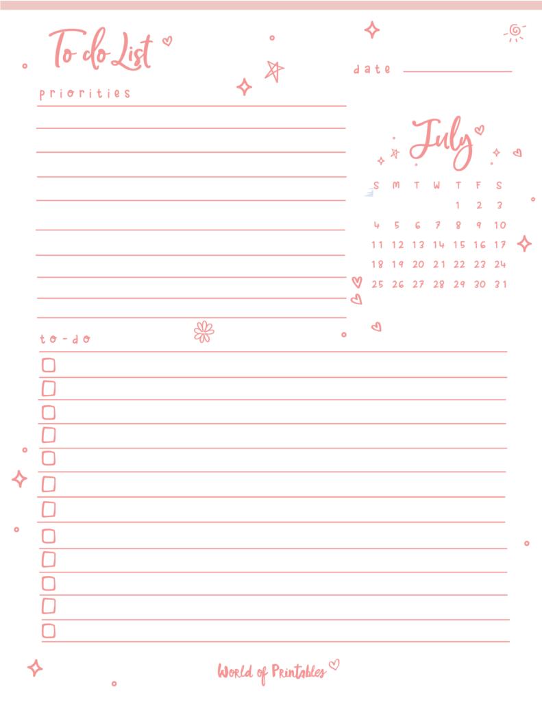 cute July to-do list
