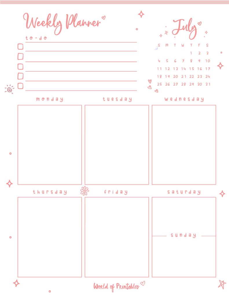 cute July weekly planner
