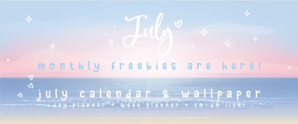 July Calendar and July Wallpaper
