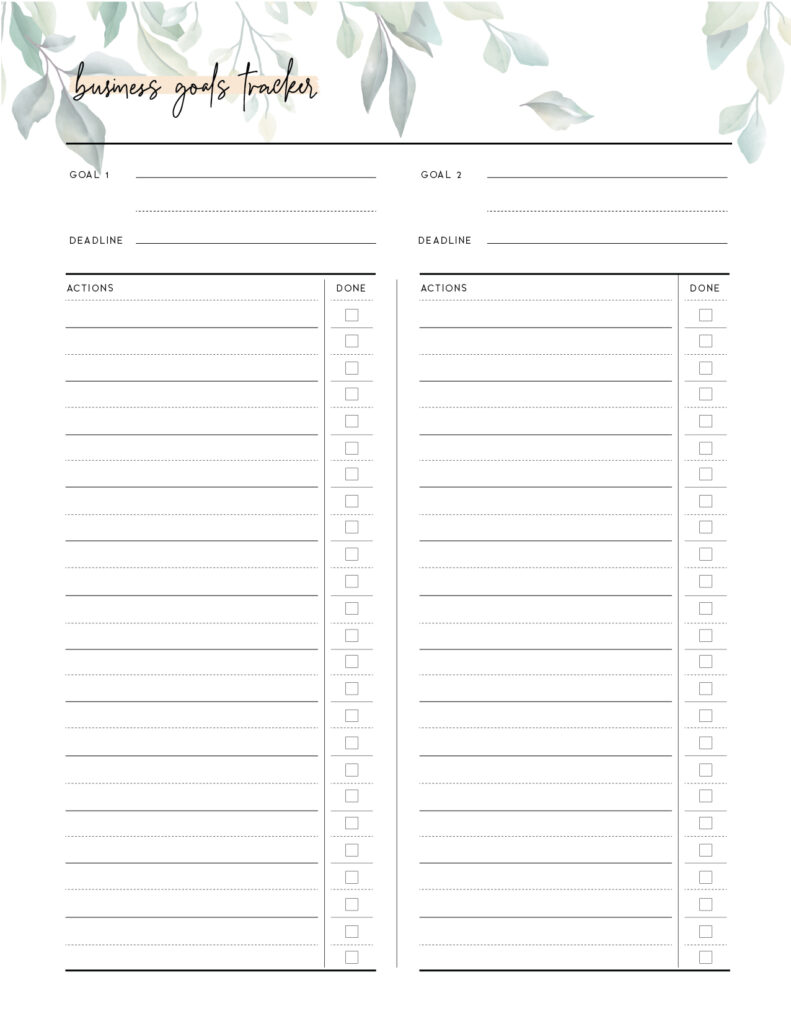 Printable Business Goals Template