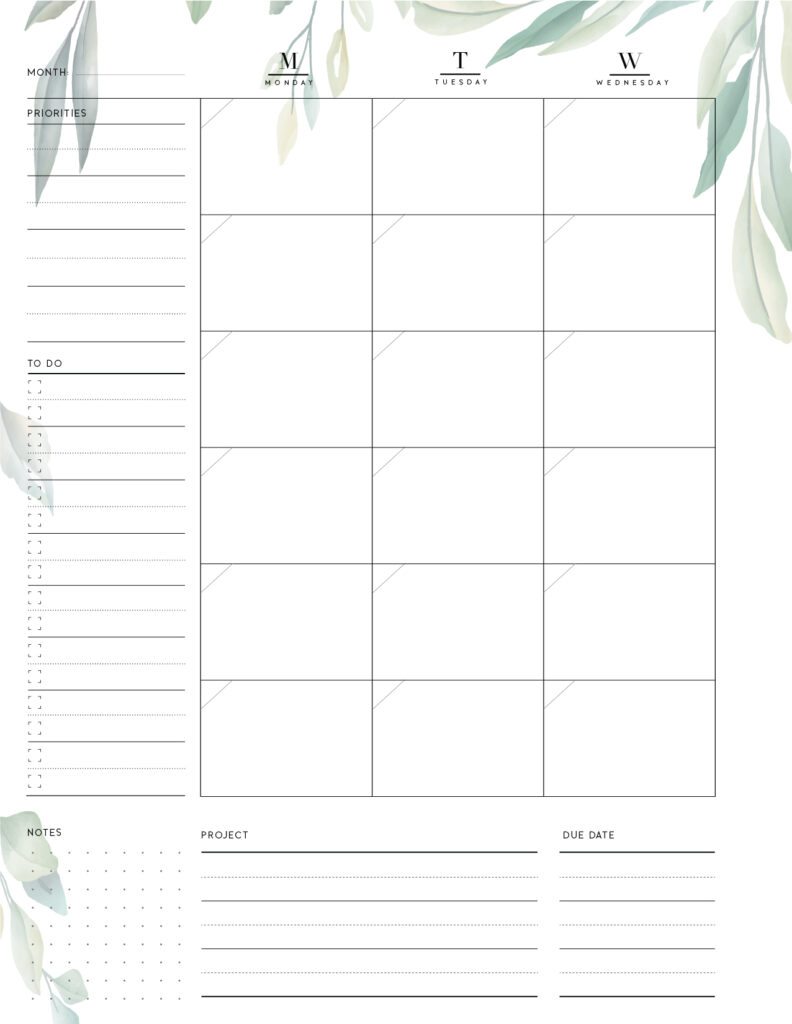 Download Printable Monthly Planner - 1