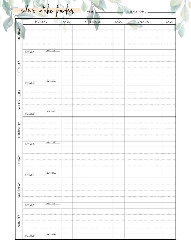 Download free printable calorie tracker template