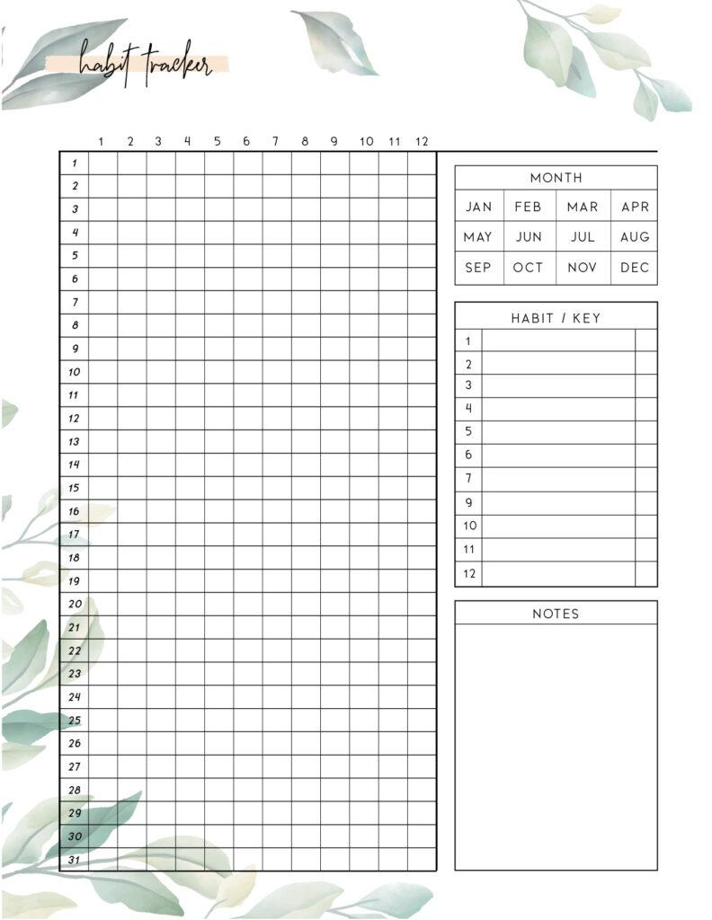 Download free printable habit tracker template